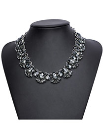 Elegant Black Waterdrop Shape Gemstone Decorated Collar Necklace