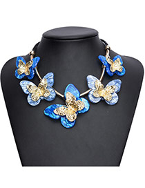 Exaggareted Blue Five Butterfly Shape Decorated Simple Necklace