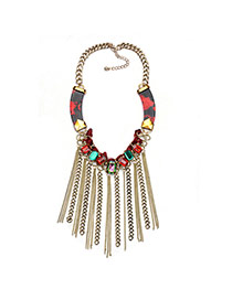 Exaggerated Red Square Diamond Decorated Long Tassel Necklace