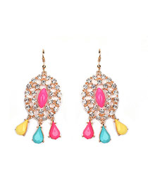 Sweet Multi-color Waterdrop Gemstone Pendant Decorated Hollow Out Earring