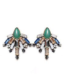 Fashion Green Square Shape Diamond Decorated Dragonfly Shape Simple Earrings