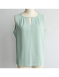 Fashion Green Pure Color Design Hollow Out Neckline Loose Chiffon Vest