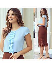 Fashion Blue Pleated Bowknot Decorated Pure Color Short Sleeve Chiffon Blouse