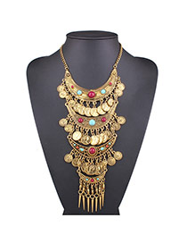 Exaggerated Gold Color Coin&tassel Pendant Decorated Multi-color Collar Necklace