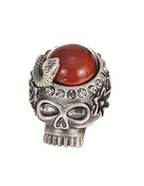 Fashion Silver Color Diamond Decorated Skull Shape Simple Ring