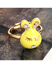 Lovely Yellow Diamond Decorated Rabbit Design Simple Ring
