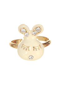 Fashion Beige Round Shape Diamond Decorated Rabbit Shape Ring