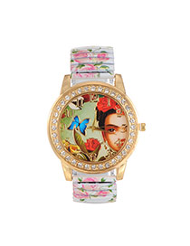 Lovely White Butterfly&girl Pattern Decorated Printing Flower Strap Watch