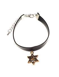 Vintage Gold Color Metal Star Pendant Decorated Wide Choker Necklace