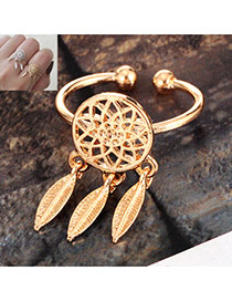 Fashion Gold Color Metal Leaf Pendant Decorated Hollow Out Opening Ring