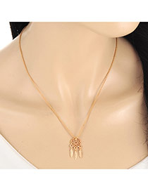 Fashion Gold Color Metal Leaf Pendant Decorated Hollow Out Long Chain Necklace