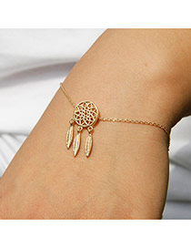 Fashion Gold Color Metal Leaf Pendant Decorated Hollow Out Bracelet