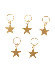 Delicate Gold Color Star Decorated Pure Color Design Simple Hair Cilp