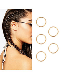 Delicate Gold Color Round Shape Decorated Pure Color Design Simple Hair Clip