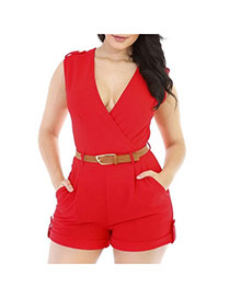 Fashion red Pure Color Decorated V Neckline Sleeveless Simple Jumpsuit (with Waistbelt)