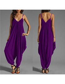 Sexy purple V Neckline Design Pure Color Large Size Loose Strap Jumpsuit