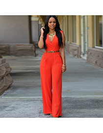 Fashion orange Pure Color Design V Neckline Sleeveless Loose Jumpsuit(with Waistbelt)