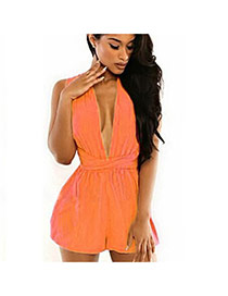 Fashion orange Pure Color Design V Neckline Sleeveless Simple Chiffon Jumpsuit