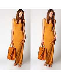 Elegant yellow Pure Color Design sleeveless Package Hip Large Size Long Dress