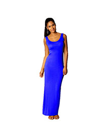Elegant Sapphire Blue Round Neckline Design Pure Color Sleeveless Long Dress