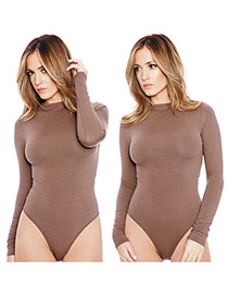 Sexy Coffee Long Sleeve Design Pure Color Round Neckline Slim Pantdress