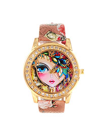 Lovely Light Brown Girl Pattern Decorated Round Case Simple Watch