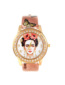 Vintage Loght Brown Beautiful Girl Pattern Decorated Round Case Simple Watch
