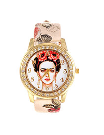 Vintage Beige Beautiful Girl Pattern Decorated Round Case Simple Watch