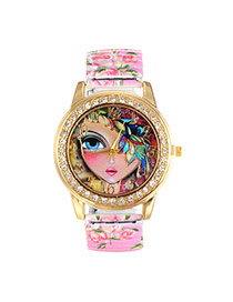 Fashion Light Purple Girl Pattern Decorated Printing Flower Strap Simple Watch