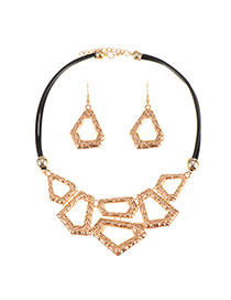 Personality Gold Color Irregular Shape Pendant Decorated Necklace Sets