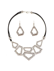 Personality Silver Color Irregular Shape Pendant Decorated Necklace Sets