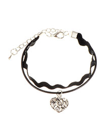 Fashion Black Heart Shape Pendant Decorated Double Layer Bracelet