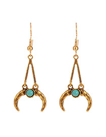 Personality Gold Color Metal Moon Shape Pendant Decorated Long Earrings