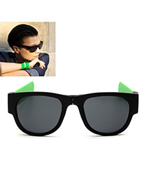 Vintage Green Color Matching Decorated Simple Folding Sunglasses