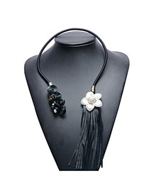 Vintage Black Tassel&flower Pendant Decorated Opening Simple Necklace