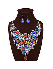 Luxury Multi-color Flower Decorated Short Chain Jewelry Sets