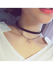 Vintage Balck Hollow Out Star Pendant Decorated Double Layer Choker Necklace