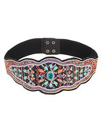 Vintage Multi-color Flower Shape Pattern Decorated Simple Belt