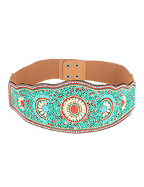 Vintage Green Flower Shape Pattern Decorated Simple Belt