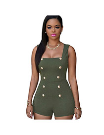 Sexy Green Double-breasted Decorated Short Jumpsuit