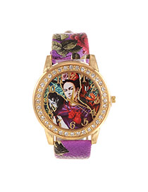 Fashion Purple Human Pattern&diamond Decorated Simple Watch