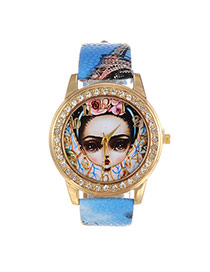 Fashion Blue Girl Dial Plate Decorated Eiffel Pattern Belt Watch