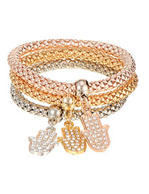 Elegent Multi-color Hand Shape Pendant Decorated Multilayer Bracelet(3pcs)