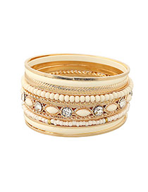 Fashion White Round Shape Diamond Decorated Multilayer Bracelet