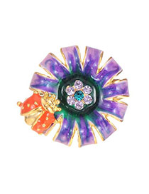 Lovely Purple Ladybird&flower Pattern Decorated Simple Ring
