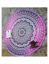 Bohemia Purple Flower Pattern Decorated Round Shape Scarf