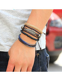 Retro Coffee Meatal Leaf Decorated Hand-woven Multilayer Bracelet