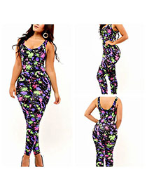 Sexy Multi-color Flower Pattern Decorated Sleeveless O Neckline Jumpsuits