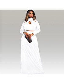 Sexy White Hollow Out Neckline Decorated Long Sleeve Pure Color Dress Suits