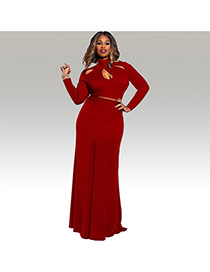 Sexy Red Hollow Out Neckline Decorated Long Sleeve Pure Color Dress Suits